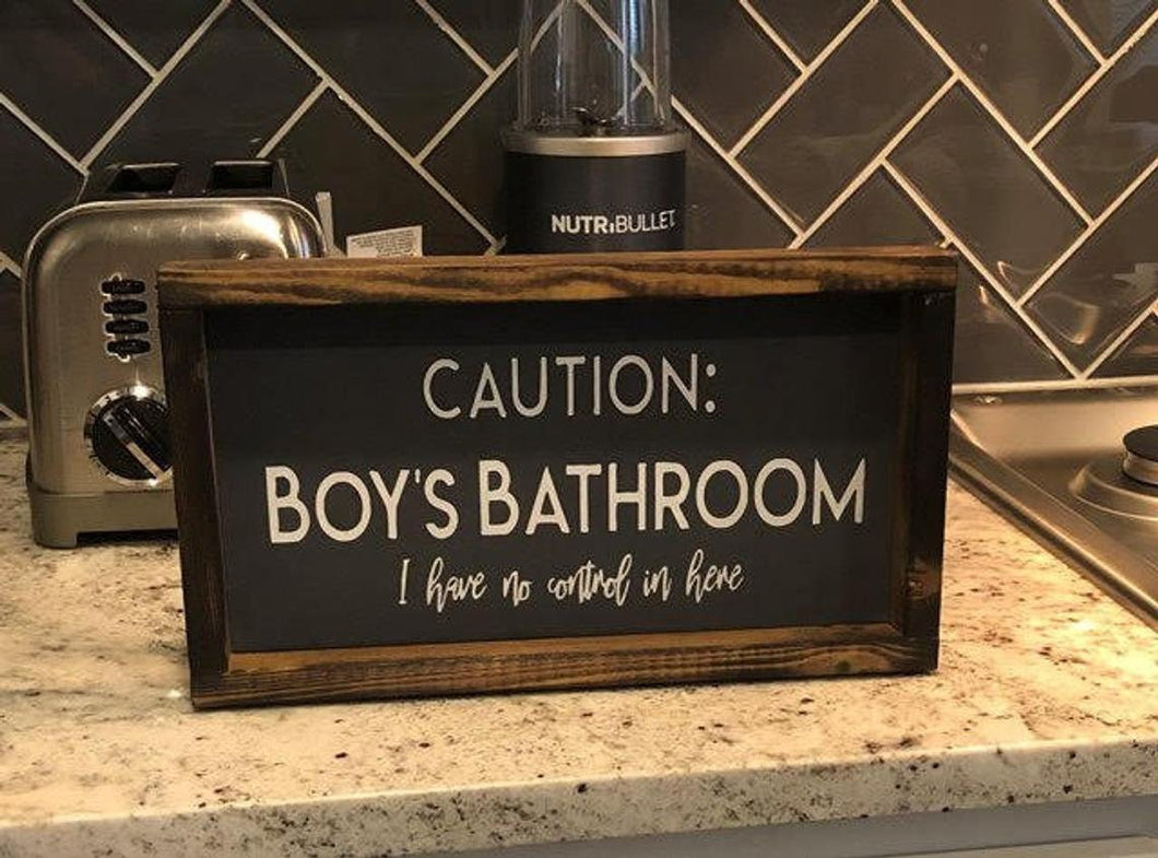 Caution Kids Bathroom Sign | Boys Bathroom Girls Bathroom | I Have No Control In Here Sign | Funny Bathroom Wall Decor | Bathroom Humor Sign