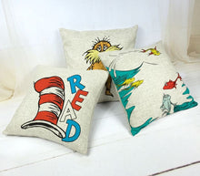 Load image into Gallery viewer, DR. SEUSS BOOK Pillow covers, Kids Room, Home Decor, Classroom Decor Nursery, Gifts, Books, Cat In the Hat, Preschool Decor