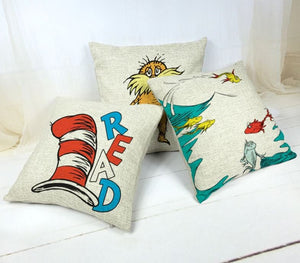 DR. SEUSS BOOK Pillow covers, Kids Room, Home Decor, Classroom Decor Nursery, Gifts, Books, Cat In the Hat, Preschool Decor