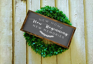 New Home New Beginning New Memories Wood Sign | Framed Farmhouse Style Sign | Housewarming Gift | Modern Farmhouse Sign
