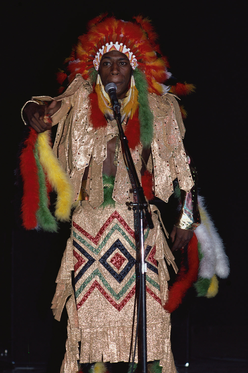 Pow Wow of Soul Sonic Force wears a Native American costume on stage. (Photo by Geoff Butler/Corbis/VCG via Getty Images)
