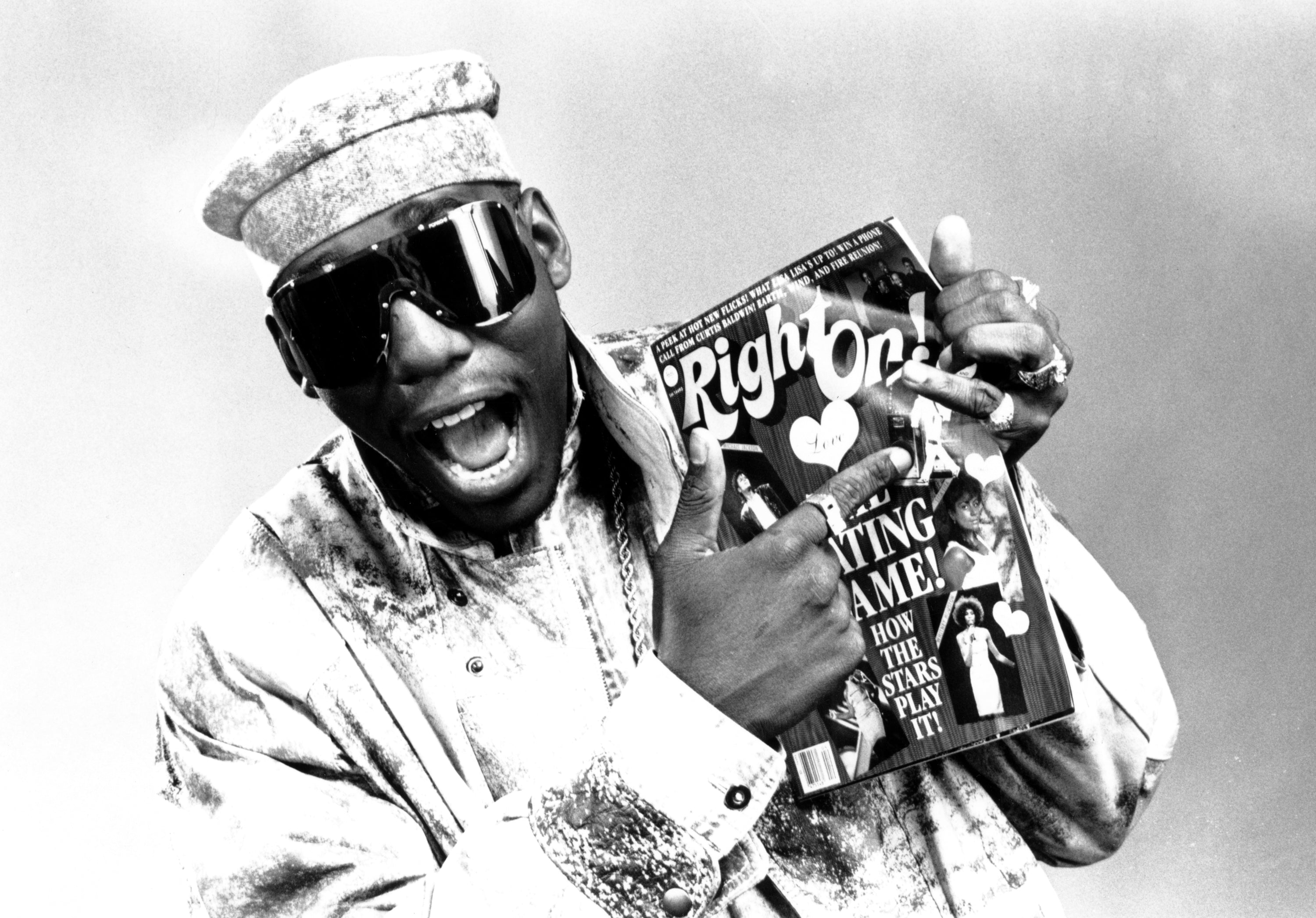Kool Moe Dee poses with a copy of 'Right On' Magazine. The publication was first published in 1971.