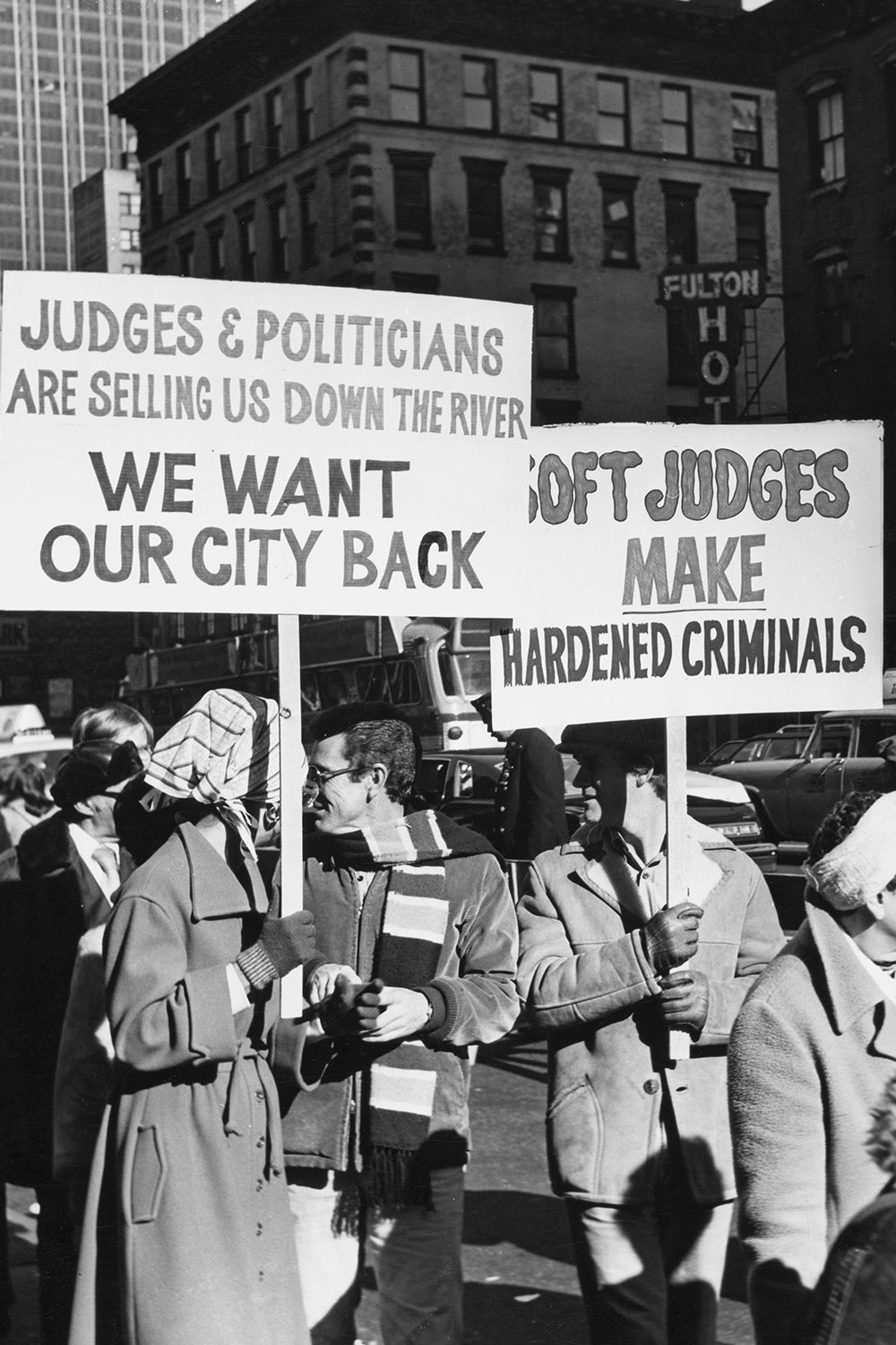 Protesters marching in the Times Square area demonstrating against the closure of entertainment and nightlife venues and the rise of illicit businesses, New York City, US, 1976. (Photo by Peter Keegan/Keystone/Hulton Archive/Getty Images)