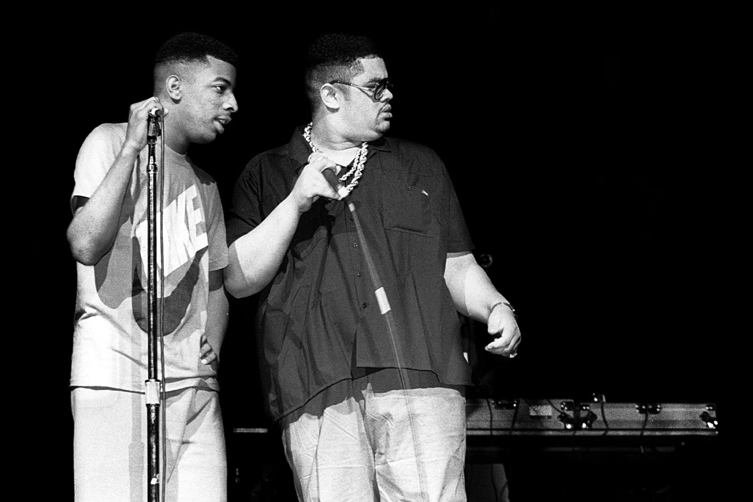 Trouble T-Roy of Heavy D. And The Boyz and Heavy D. performs at the Holiday Star Theater in Merrillville, Indiana in 1988. (Photo By Raymond Boyd/Michael Ochs Archives/Getty Images)