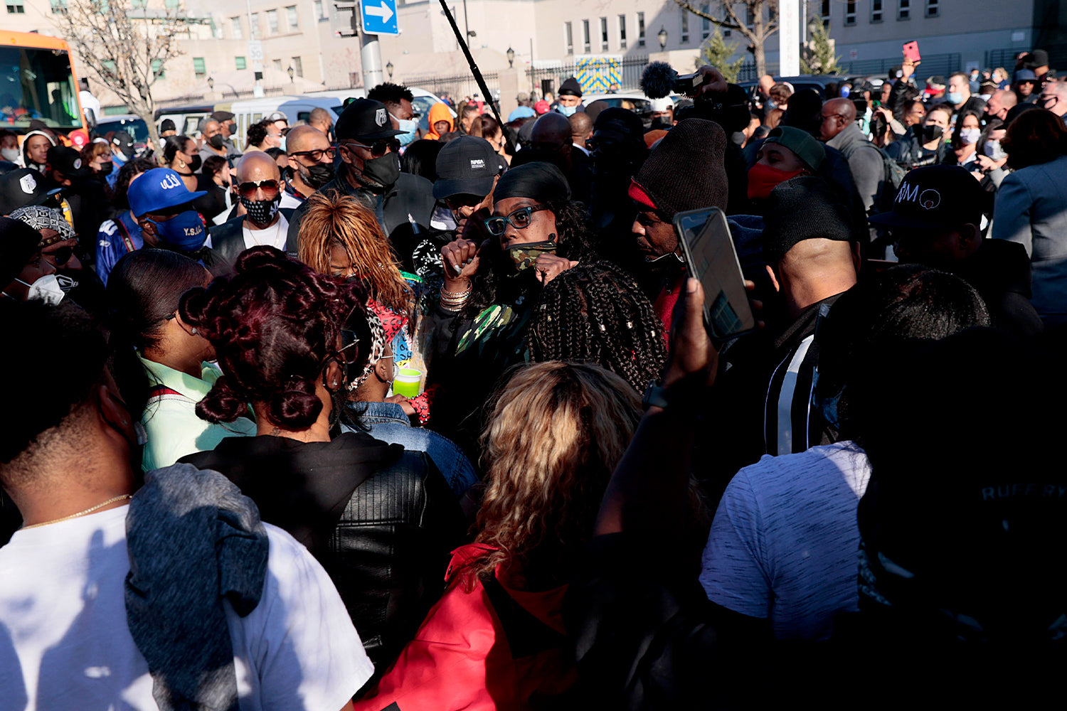 Fans of hospitalized rapper Earl Simmons, aka DMX, attend a prayer vigil hosted by the Ruff Ryders to the Rescue Foundation at White Plains Hospital on April 5, 2021 in White Plains, New York. - Gritty US rapper DMX was hospitalized and on life support on April 3 after a heart attack, his lawyer Murray Richman told AFP.