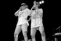 Pepa and Salt from Salt-N-Pepa perform at the Holiday Star Theatre in Merrillville, Indiana 1987