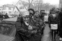 "Salt (Cheryl James), Dana Dane, Pepa (Sandra Denton) and Hurby ""Luv Bug"" Azor at Heavy D And The Boyz shoot their ""Money Earnin' Mount Vernon"" music video in 1988"