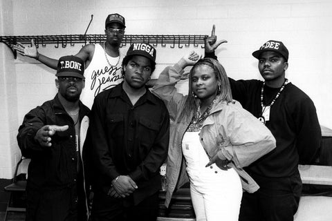 Ice Cube, with The Lench Mob (T-Bone, Sir Jinx, Yo-Yo and J-Dee) backstage at The Arena in St. Louis, Missouri in August 1990. (Photo By Raymond Boyd/Michael Ochs Archives/Getty Images)
