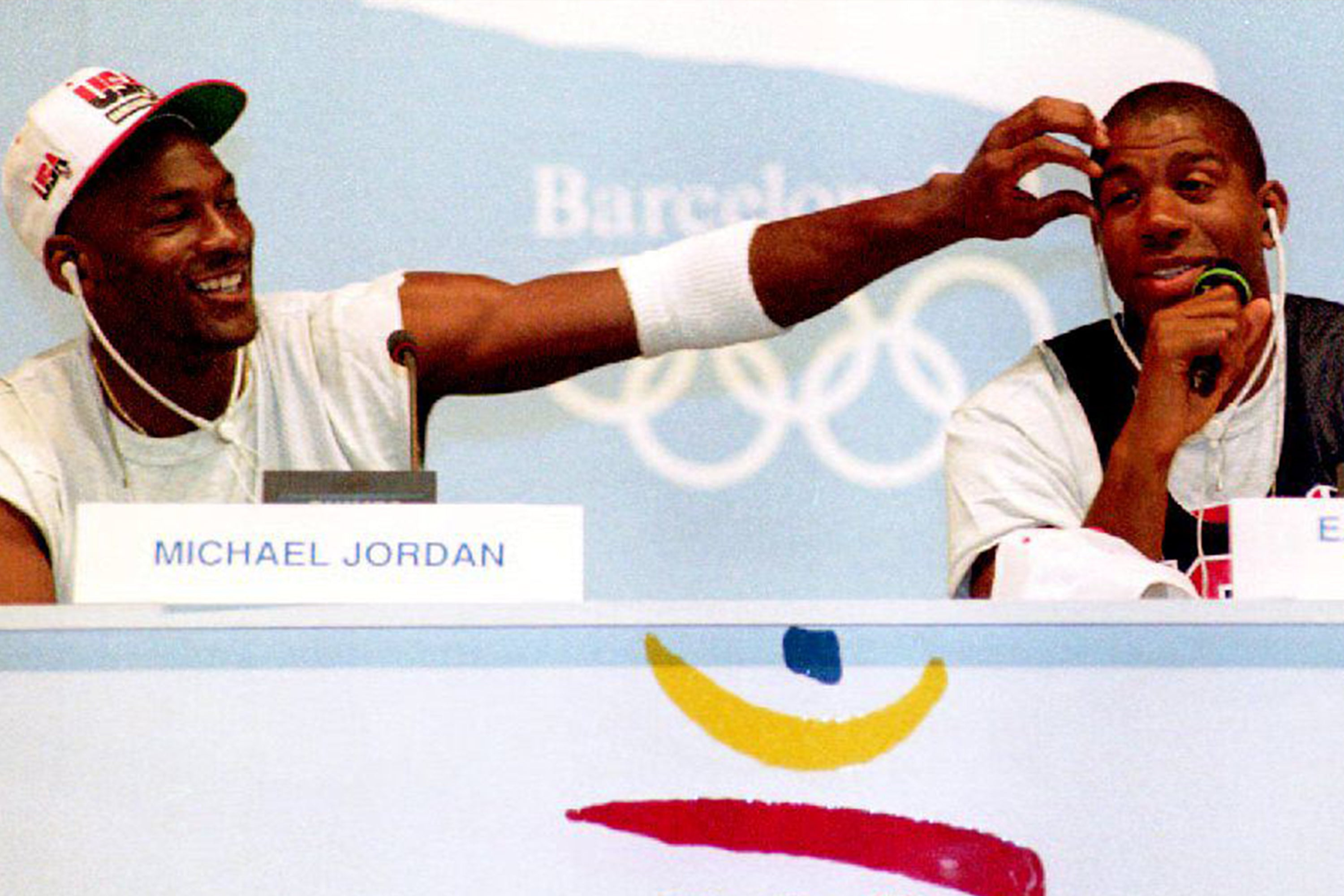 "Michael Jordan and Earvin ""Magic"" Johnson during a press conference for the U.S. Olympic ""Dream Team."