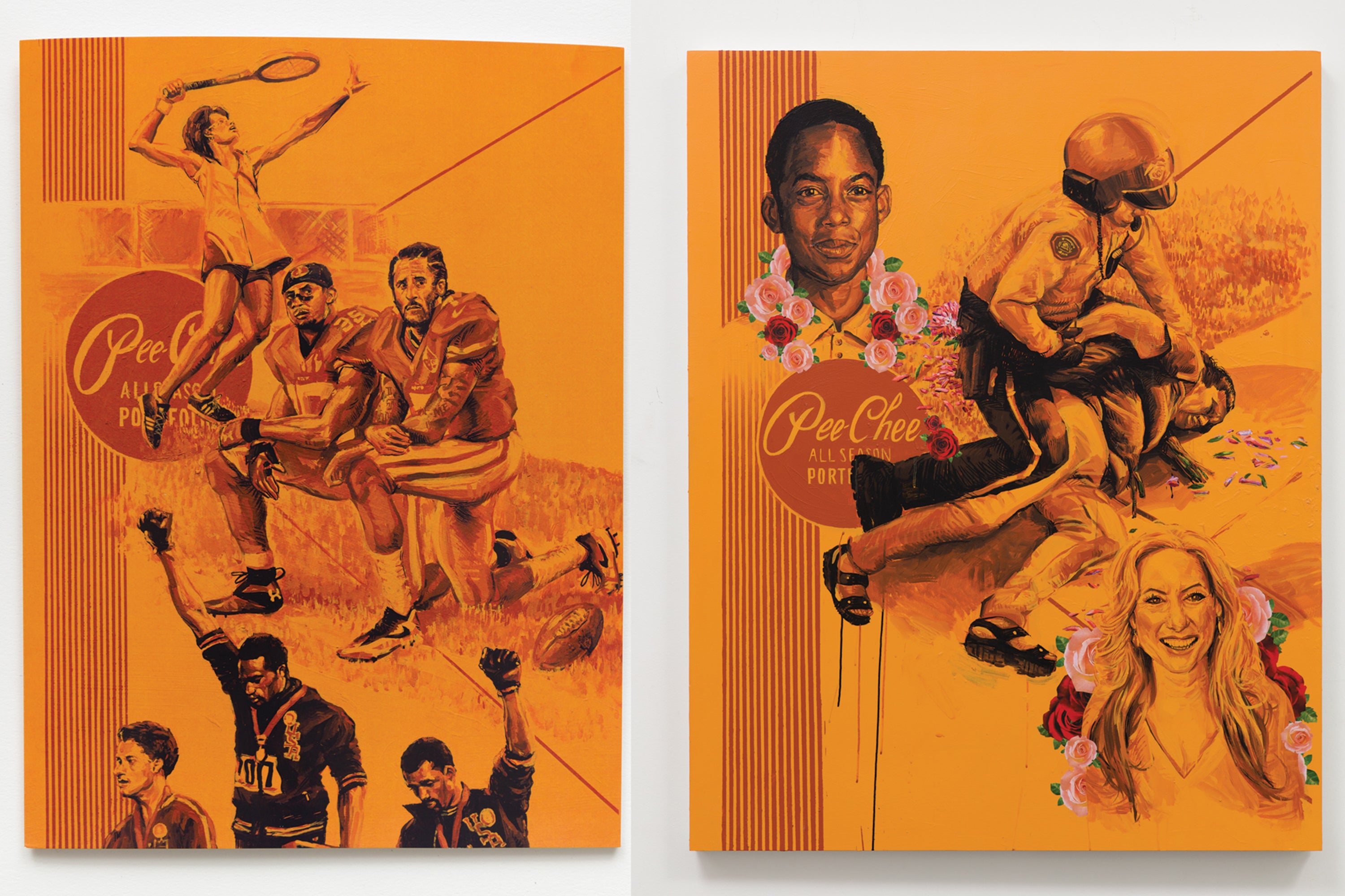 LEFT: PROTEST PEE CHEE ACRYLIC ON PANEL, 2017 RIGHT: FLOWER MEMORIAL PEE CHEE ACRYLIC, BIC PEN AND STICKER COLLAGE ON PANEL, 2017