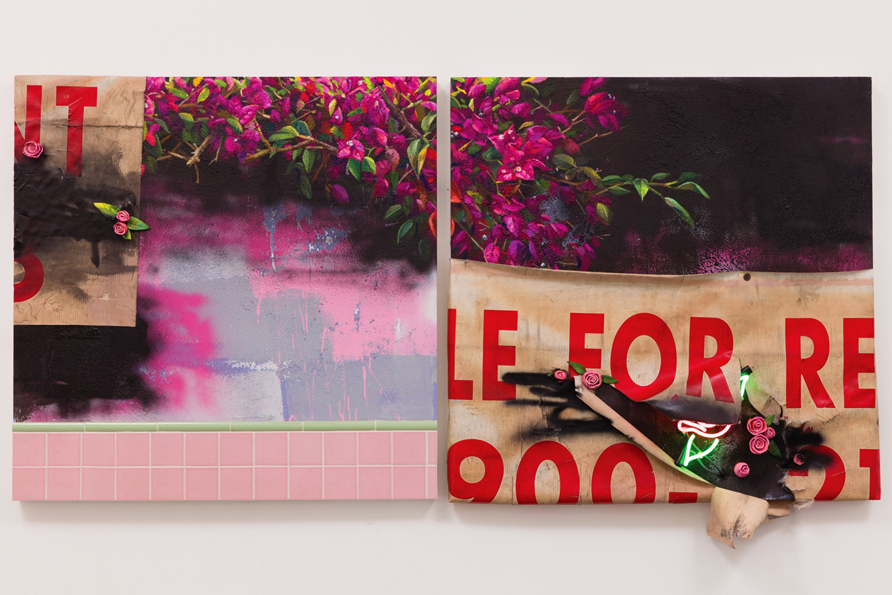 LANDSCAPE FOR LEASE (DIPTYCH) CERAMIC, FOUND BANNER TARP, CERAMIC TILE, MIXED MEDIA ON STUCCO AND NEON ON PANEL, 2017