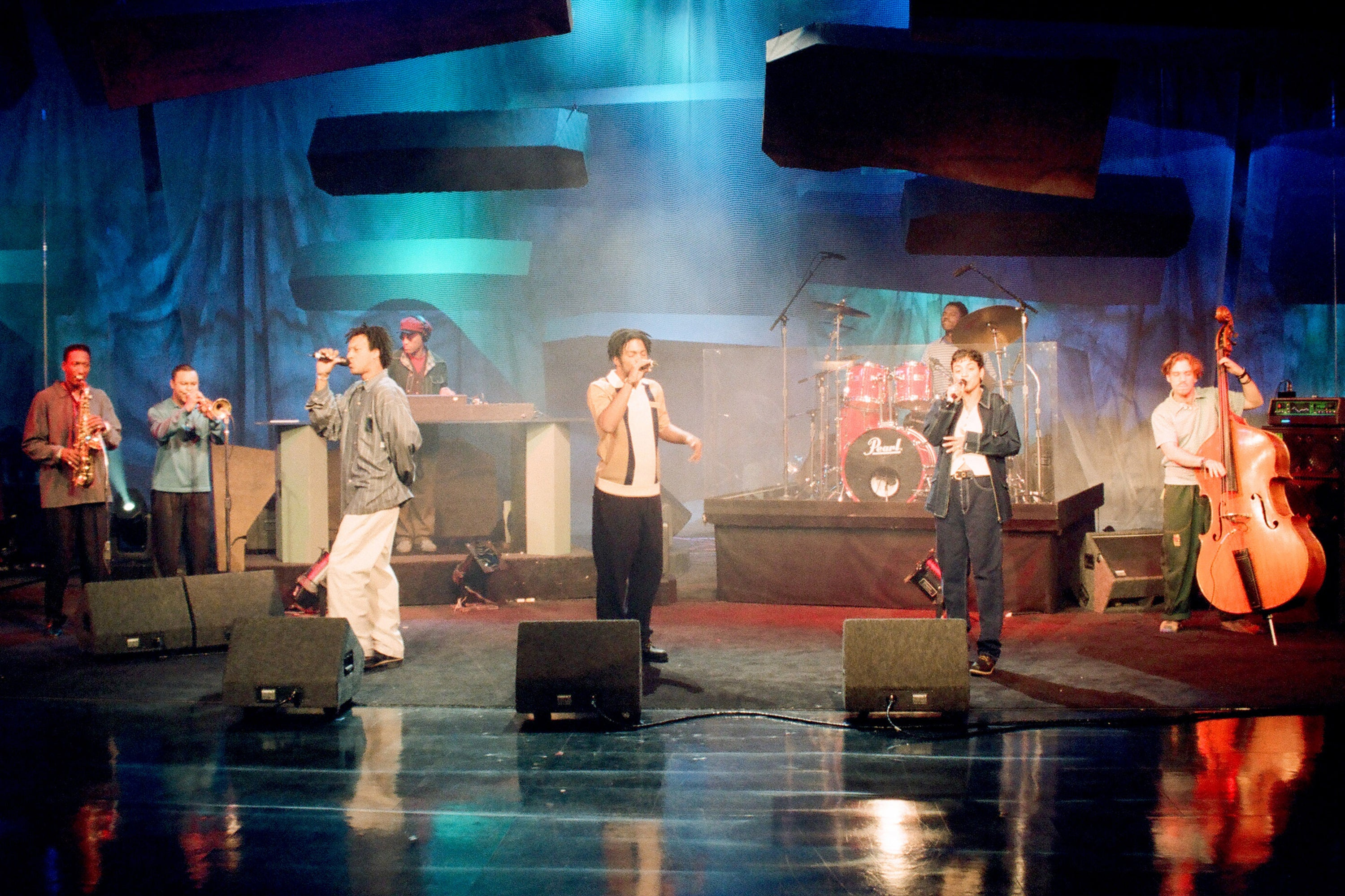 THE TONIGHT SHOW WITH JAY LENO -- Episode 214 -- Pictured: (l-r) Butterfly; Doodlebug and Ladybug Mecca of musical guest Digable Planets perform on April 29, 1993 -- (Photo by: Margaret Norton/NBCU Photo Bank/NBCUniversal via Getty Images via Getty Images)