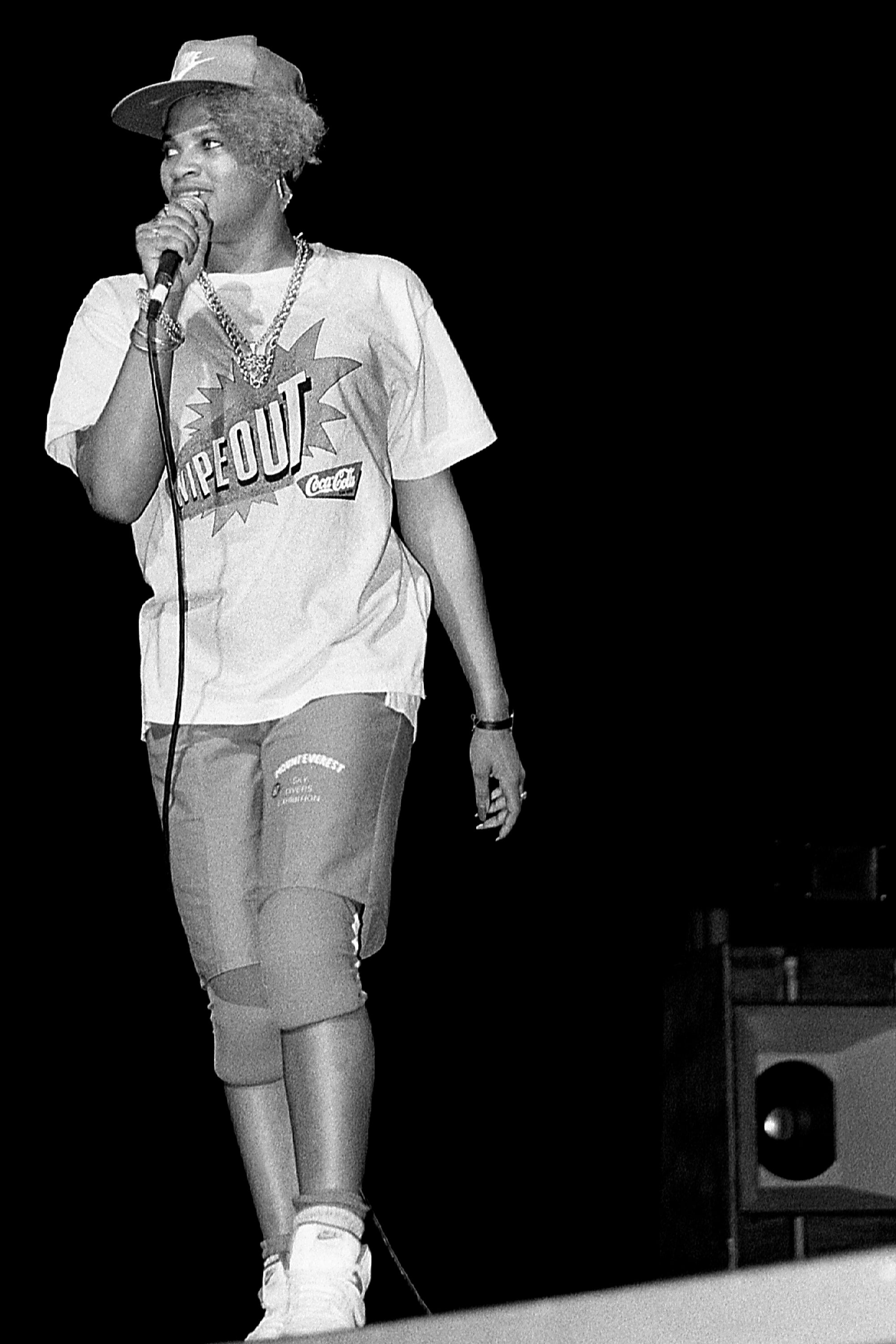 Salt from Salt-N-Pepa perform at the Holiday Star Theatre in Merrillville, Indiana 1987
