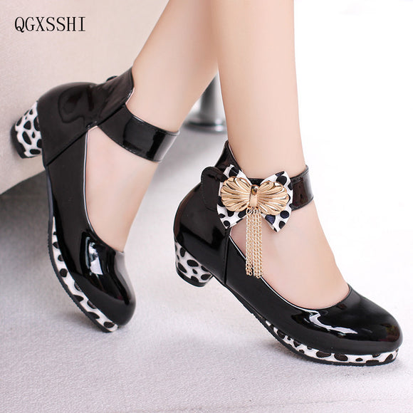 QGXSSHI Classic Bow Girl PU Leather Shoes For Girls 2-14 Years