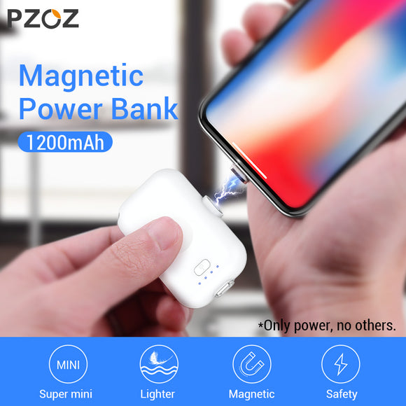 PZOZ Magnetic Power Bank 1200mAh External Battery Charger Magnet mini PowerBank Li-polymer Battery For iphone Micro usb Type c