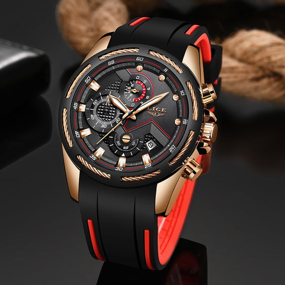 LIGE New Mens Watches Top Luxury Unique Sports Quartz Date Clock Waterproof Wrist Watch Relogio Masculino