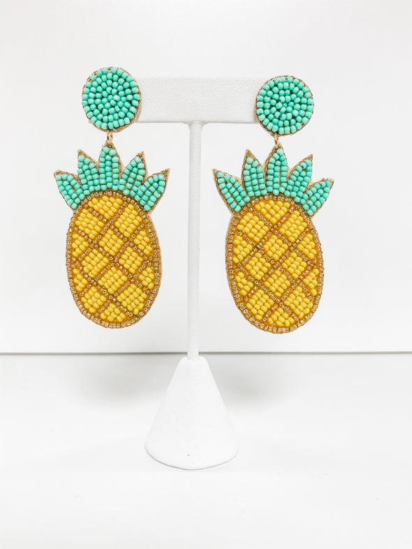 YELLOW BEADED PINEAPPLE EARRINGS