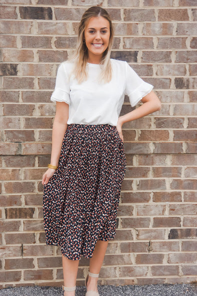SWEET HEARTS BLACK MIDI SKIRT