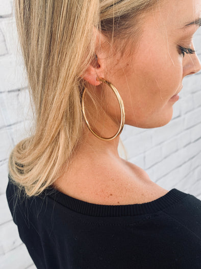 GOLD HOLLOW HOOP EARRING (70MM)