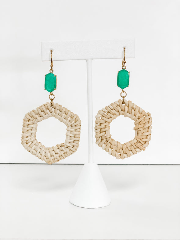 HEXAGON RATTAN GREEN STONE EARRINGS