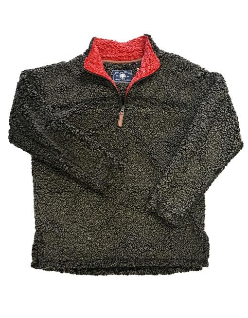 SHERPA PULLOVER IN CHARCOAL/RED