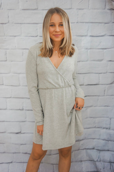LIGHT GREY SURPLICE DRESS