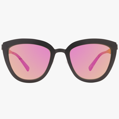 LILY - MATTE BLACK + PINK MIRROR POLARIZED LENS