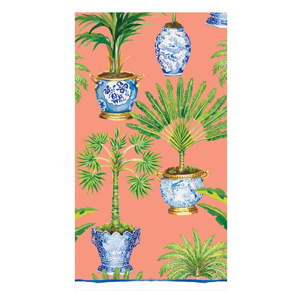CORAL POTTED PALMS PAPER GUEST NAPKINS