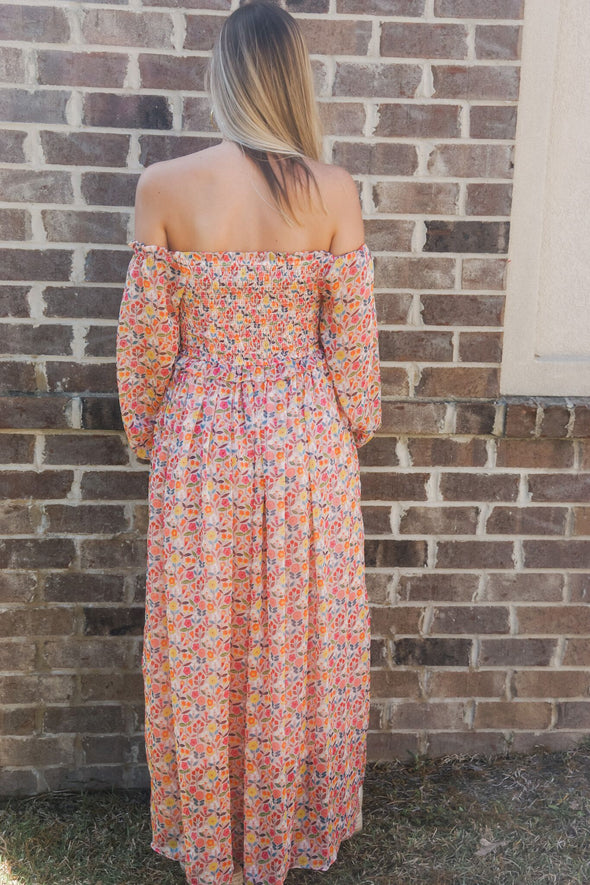 MOLLY BRACKEN SMOCKED FLORAL MAXI