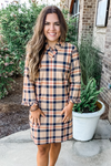 JUDE CONNALLY: CATALINA TARTAN CAMEL PLAID RUFFLE DETAIL DRESS