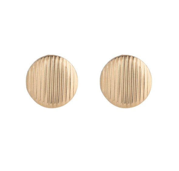 CLASSIC 12MM BUTTON STUD, GOLD TEXTURED