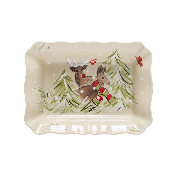 DEER FRIENDS MEDIUM RECTANGULAR BAKER - LINEN