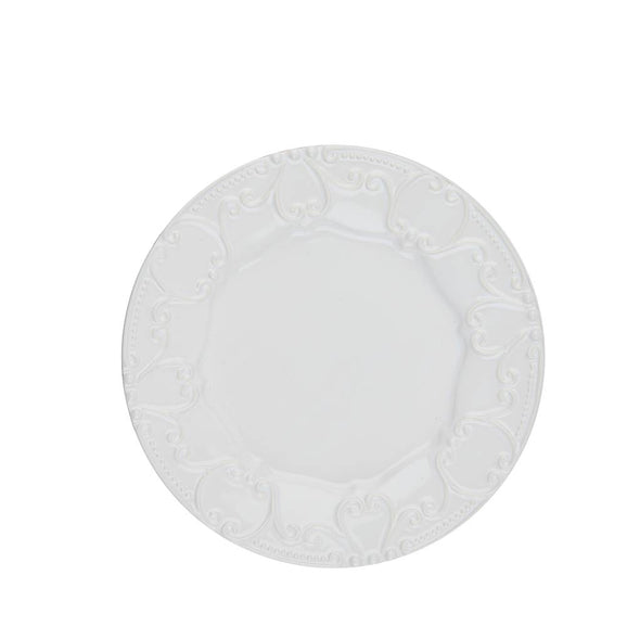 ISABELLA EMBOSSED SALAD PLATE - PURE WHITE