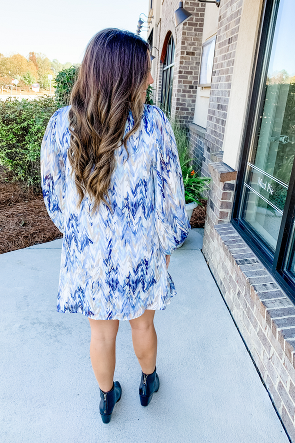 BLUE ABSTRACT PUFF SLEEVE DRESS