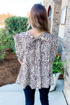 BEIGE LEOPARD RUFFLED TIERED TOP