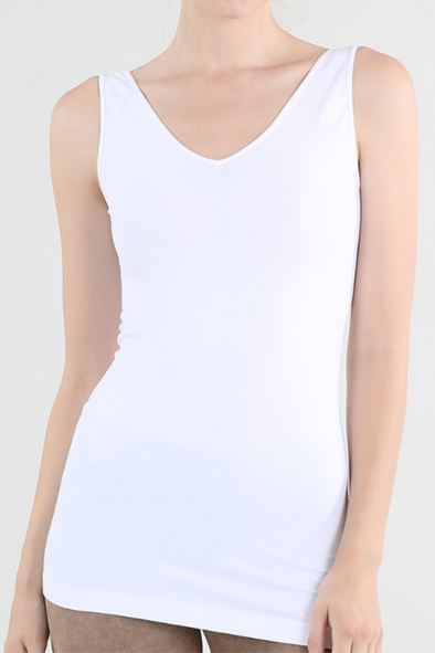 WHITE REVERSIBLE TANK TOP