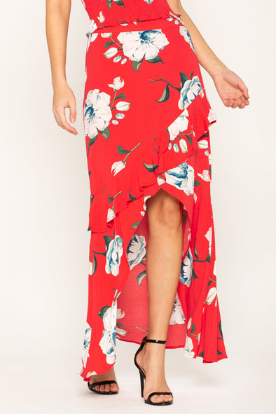 FLORAL STUNNER HIGH-LOW SKIRT
