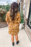 MUSTARD FLORAL SURPLICE DRESS