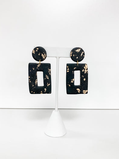 BLACK & GOLD FOIL RECTANGLE DROP DANGLE EARRINGS