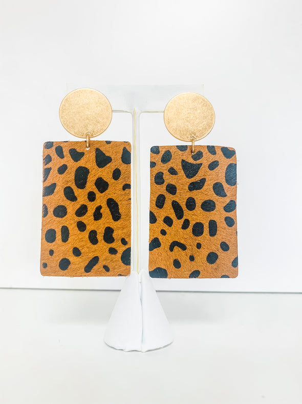 BROWN CHEETAH RECTANGLE LEATHER EARRINGS