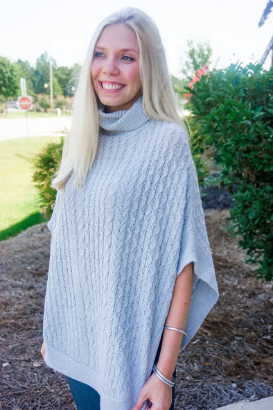 CAMPBELL GREY TURTLENECK PONCHO