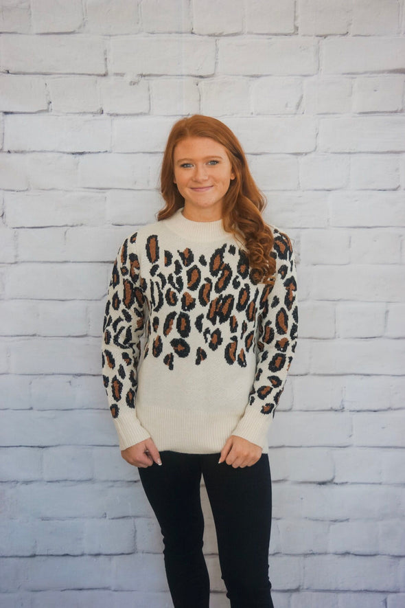 WHITE LEOPARD SWEATER