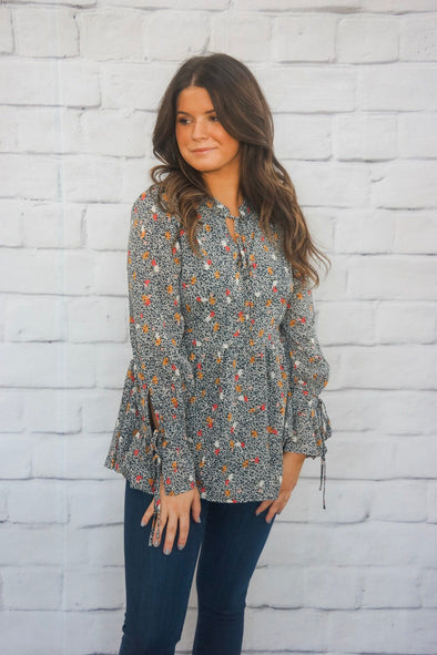 FALL TIE FRONT BLOUSE