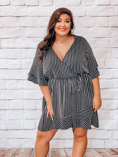 PLUS BLACK & WHITE STRIPED DRESS