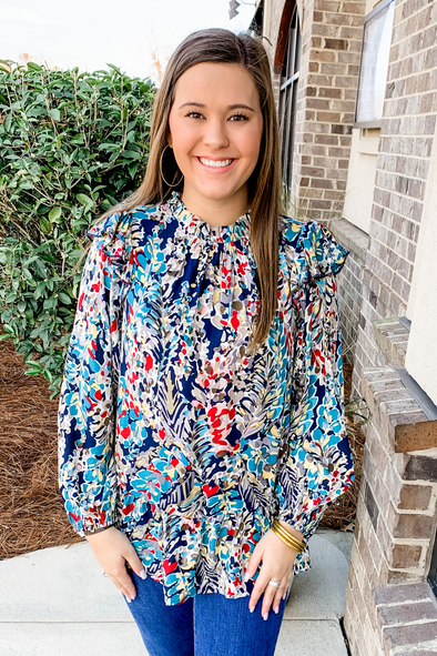 NAVY WATERCOLOR FLORAL TOP