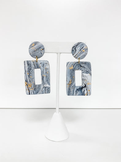 MARBLE & GOLD FOIL RECTANGLE DROP DANGLE EARRINGS