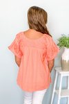 GEORGIA TOP PEACH EMBROIDERED TOP