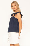 LOVEBUG RUFFLE TRIM TOP - NAVY