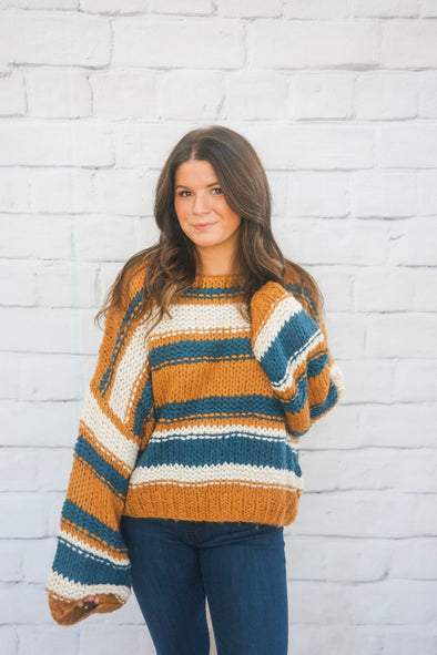 CAMEL WIDE STRIPE SWEATER