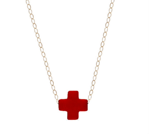 ENEWTON GOLD SIGNATURE CROSS NECKLACE IN RED